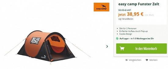 Easy camp Funster Zelt 38,95€ 35% billiger